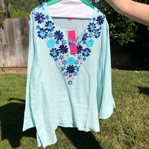 Lilly Pulitzer Tops - NWT Lilly Pulitzer Blue Sequin Amelia Island Tunic